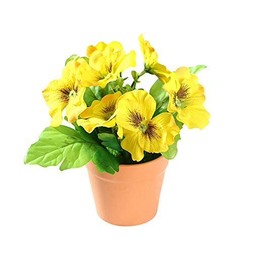 perlo33ER Künstliche Blume Bonsai Ornamente, 1 Stück Künstliche Blume Stiefmütterchen Pflanze Bonsai Home Office Garten Schreibtisch Party Decor Gelb