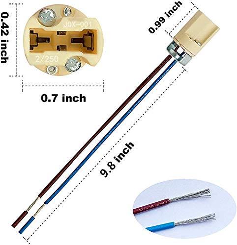 ODETOJOY-G9-Lampenfassung-Mit-isol-Kabelzuleitung-Lampensockel-Fassung-Sockel-fr-LED-Halogen-Fassung-Sockel-Keramik-mit-Qualitts-075mm-kabel-1-Stk-G9-Lampenfassung