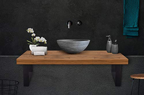 Wastafel console staal mat zwart drager 50x30mm 5x3cm wastafel wandconsole industrieel ontwerp vintage plank houder console frame (1 paar) H 150 x B 350