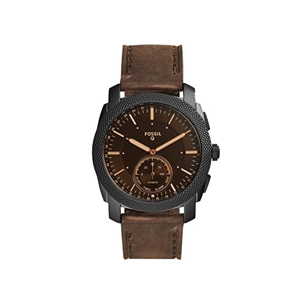 Fossil Q Men's Q Machine Hybrid Stainless Steel Watch with Leather Calfskin Strap, Brown, 24 (Model: FTW1163)