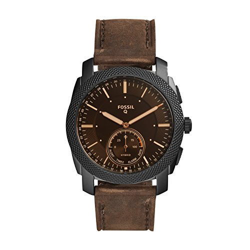 Fossil Men's 45MM Machine Stainless Steel and Leather Hybrid Smart Watch, Color: Black/Brown (Model: FTW1163)