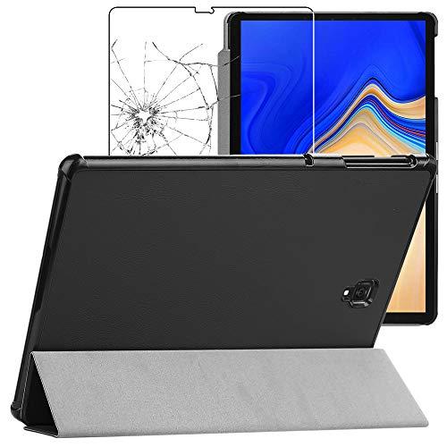 ebestStar - Funda Compatible con Samsung Galaxy Tab S4 10.5 SM-T830, SM-T835 Carcasa Cuero PU Silicona, Smart Cover Soporte, Reposo Automático, Negro +Cristal Templado [Tab: 249.3x164.3x7.1mm 10.5']