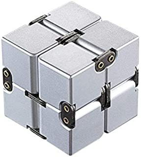 NUTY DUSTY Fidget Toys Infinity Cube EDC Toys Cube Decompression Aluminum Alloy Decompression Toy Puzzle Fidget Desk Toys Office Metal Cube