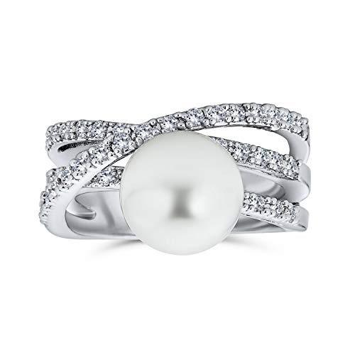 Bling Jewelry Geometric Criss Cross Pave CZ Solitario Bianco Simulato Perla Moda Dichiarazione Anello per Donna Argento Placcato Ottone