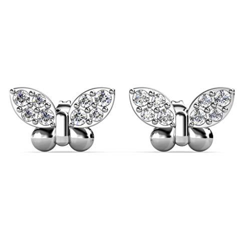 Pendientes de mariposa de plata con cristales de Swarovski chapados en rodio regalo para niñas y mujeres