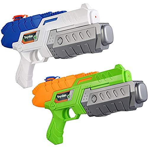 Queta Confezione da 2 pistole ad acqua giocattolo per bambini, per giocare in estate con pistole ad acqua e spruzzare 2 pistole ad acqua blu bianco + arancione verde.