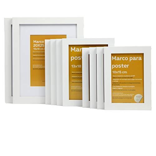 Nacnic Tamaño de Marco Blanco (10 Set - |20x25cm|x2 - |13x18cm|x4 - |10x15cm|x4). Marco Blanco para Fotos, Carteles, Diplomas,…