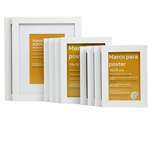 Nacnic Tamaño de Marco Blanco (10 Set - |20x25cm|x2 - |13x18cm|x4 - |10x15cm|x4). Marco Blanco para Fotos, Carteles,...