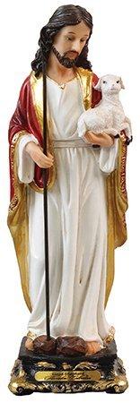 Biblegifts - Statua fiorentina di Gesù Buon Pastore, 13 cm, design tradizionale italiano, in resina, con scritta in inglese 'Cristo che trasportano Baby Lamb Gold Collection in confezione da