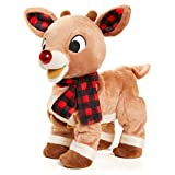 KIDS PREFERRED Rudolph The Red-Nosed Reindeer Animated Plush Toy with Light-Up Nose, Music, and Movement , Brown