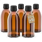 LG Luxury & Grace Pack 5 Frascos de Cristal, 250 ml. Botes de Cristal Ámbar. Tapón de Rosca y Cierre Hermético. Botellas Rellenables. Dosificación y Almacenamiento de Sustancias Líquidas.