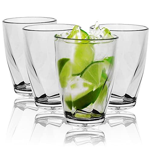 Vaso, 4 Piezas Vasos para beber, vasos de agua transparentes acrílicos de 350 ml Vasos reutilizables Vasos para beber jugo de agua, vasos portátiles irrompibles para el hogar, restaurantes