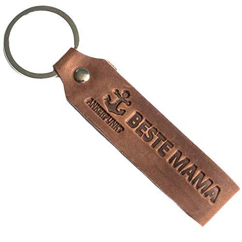 ANKERPUNKT Schlüsselanhänger Leder mit Gravur Beste Mama - Geschenke für Mama - Geschenkidee für Mama Geschenk für Mutter - Made in Germany (Dunkelbraun) Used Look