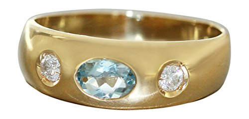 Hobra-Gold ALLIANZRING MIT TOPAS GOLDRING 750 BRILLANTRING 0,16 ct - RING GOLD DAMENRING