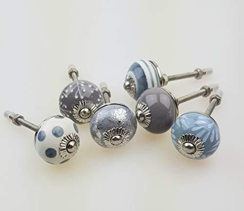 1 Set kleine Möbelknäufe, bestehend aus 6 Stk - V3 handbemalte indische Möbelknöpfe Möbelgriffe Möbelknopf Möbelknauf Keramik (075GN_SM grau blau schlamm)