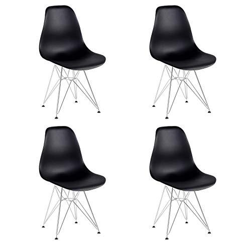 BenyLed Set di 4 Sedie in Plastica Sagomate con Gambe in Acciaio Cromato, Colore: Nero