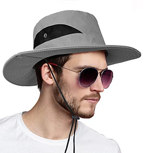 flintronic Sombrero para el Sol de ala Ancha, Protección UV para Hombres, Sombrero de Pesca Pl...