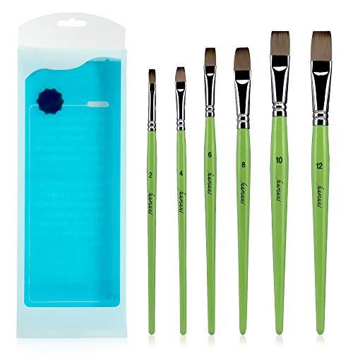 Fuumuui Flachkünstlerpinsel-Profi Kurzstiel Flachpinsel-Set 6tlg. Für Acryl-, Öl-, Gouache- und Aquarellmalerei