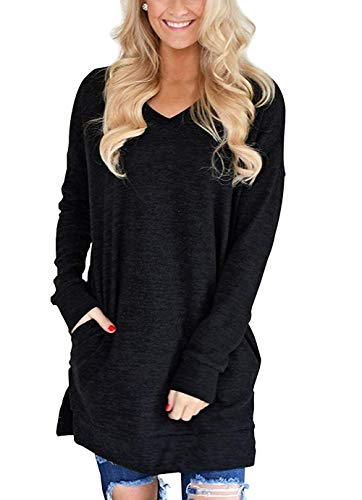 LERUCCI Womens Casual Long Sleeves Solid V-Neck Tunics Shirt Tops with Pockets