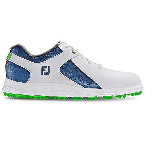 FootJoy Boys Pro/SL Junior-Previous Season Style Golf Shoes, White/Blue, 4 M US Big Kid