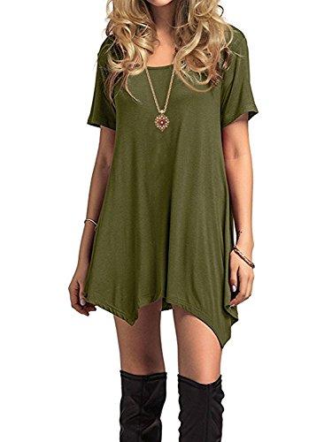 Azue Damen Sommerkleider Kurzarm Kleider Casual T-shirt kleid Loose Fit für Alltag Grün K EU 38 (Herstellergröße S)