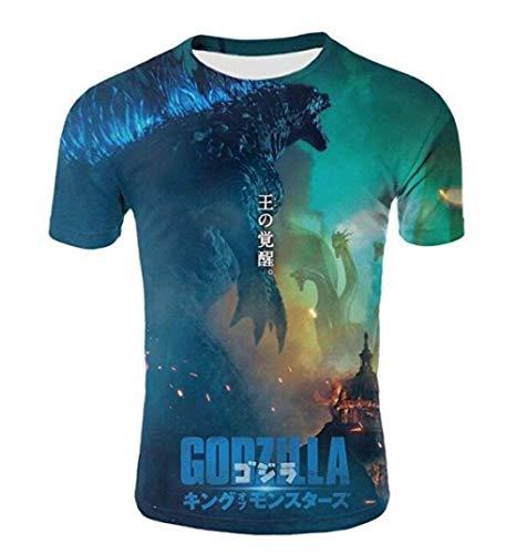 CHENGNT T-Shirts blauw ronde hals met capuchon korte mouwen Monster Vs Godzilla blauw gedrukt half mouw jeugd