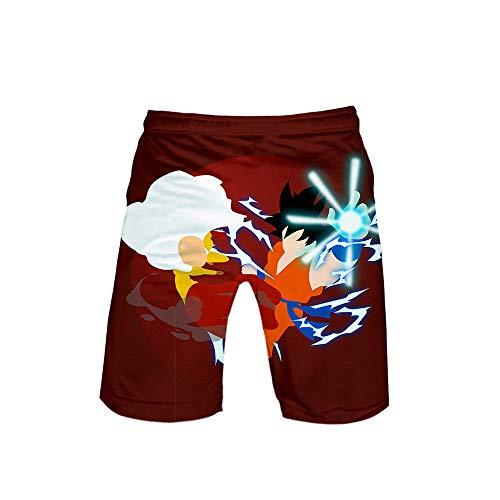 XYUANG Unisex Anime Cosplay Dragon Ball 3D Kurze Shorts lässige Badehose Strand Sweatpants Hosen H-M