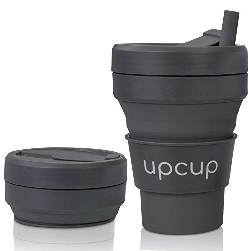UPCUP Collapsible Coffee Cup with Lid and Straw, Silicone Travel Mug for...