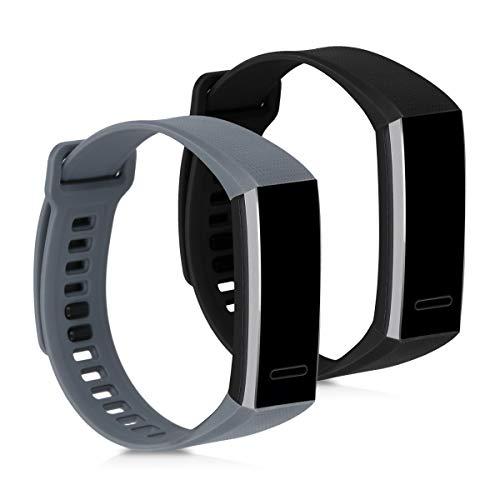 kwmobile Pulsera Compatible con Huawei Band 2 / Band 2 Pro - 2X Correa de TPU para Reloj Inteligente - Gris Claro/Negro