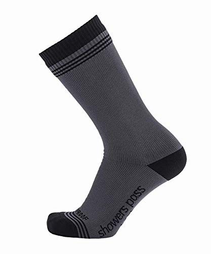 Showers Pass Waterproof Breathable Multisport Crosspoint Crew Wool Socks - Unisex (Grey/Black -...