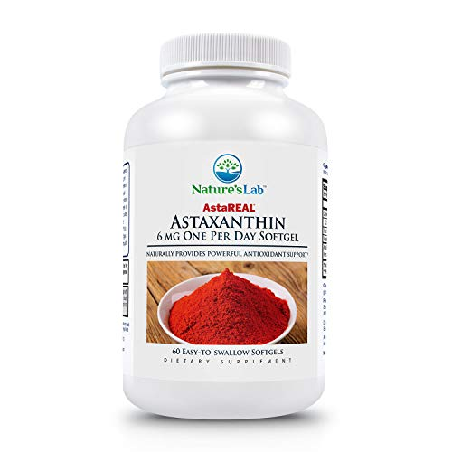 AstaREAL Astaxanthin - 6mg of Potent Antioxidant Protection for Skin, Eyes, Joints and Inflammation. 60 Softgels (2 Month Supply)