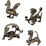 MILISTEN 4 Piezas de Cobre Figura de La Suerte Feng Shui Estatua de Bronce Dragón Tigre Pájaro Vermilion Tortuga Negra Escultura para La Decoración de Escritorio de La Oficina en