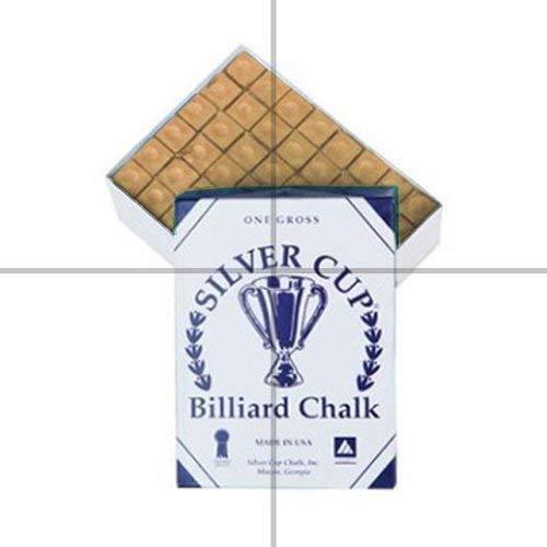 Silver Cup Marque Billard Craie, Boîte de 144, Couleur Ocre