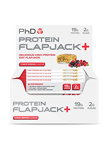 PhD Nutrition High Protein Flapjack+ Bars, Forest Berries, 75 g, Pack of 12