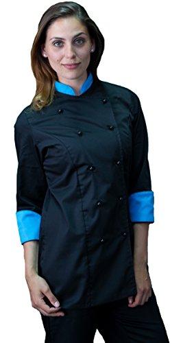 tessile astorino Ricamo Gratuito - Giacca Cuoco da Cucina - Casacca Chef Donna - Nera e Ciano - Made in Italy (XL)