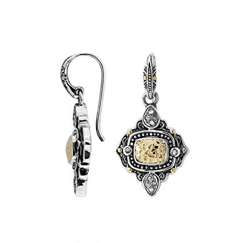 Pendiente De Plata De Ley Con Oro De 18 Quilates Y Diamante AEG-8036-DY