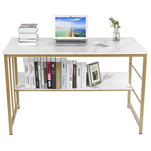 Zerone Mesa de Ordenador Grande, Escritorio Diseño de Mármol con Estante de Almacenamiento para Oficina Casa y Estudio, 120 x 60 x 73.5cm