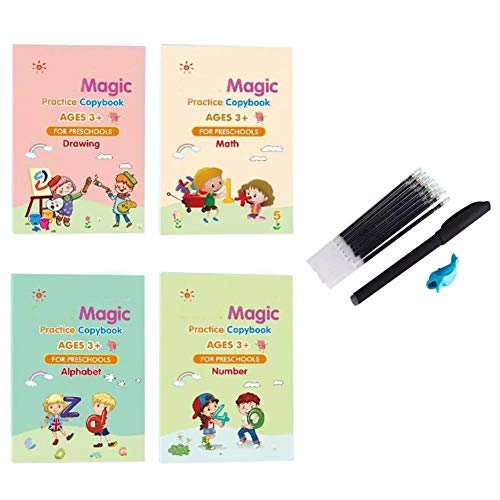 4PCS Kids Magic Practice Copybook Set English Reusable Sank Magic Calligraphy Tracing Book for Handwriting Magical Letter Writing Book for Kindergarten with Pens