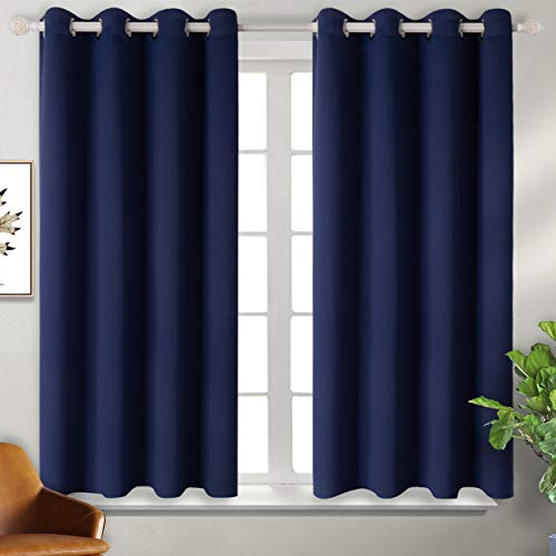 BGment Blackout Curtains for Living Room - Grommet Thermal Insulated Room Darkening Curtains for Bedroom, Set of 2 Panels (52 x 54 Inch, Navy Blue)