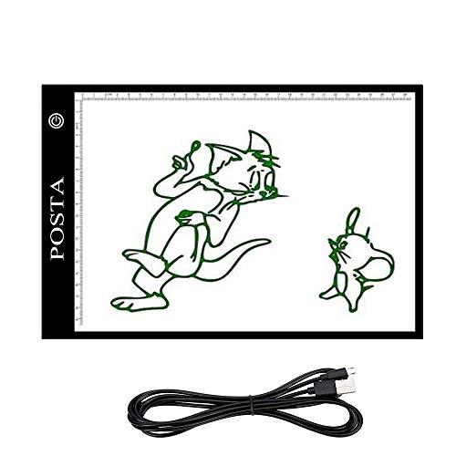 Tracing Light Box, POSTA Portable LED Light Tracing Board, Adjustable Brightness Artists Light Pad, for Artists Drawing DIY Diamond Painting Sketching Tattoo Animation Designing