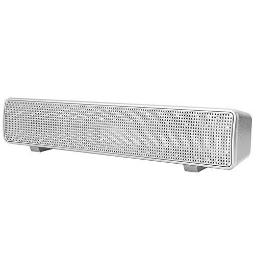 Lazimin Barra de Sonido de Escritorio con Cable para el hogar, Altavoz de Graves de Audio de 3,5 mm, Barra de Sonido estéreo portátil para Ordenador/Escritorio/portátil(Plata)