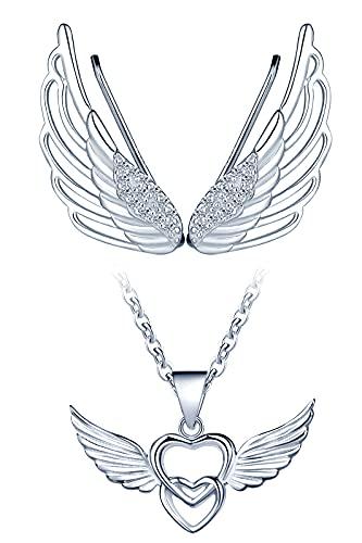 Yumilok-Colgante clásico de plata de ley con alas de ángel de doble amor S925, regalo de aniversario de bodas Los pendientes de alas de ángel son adecuados para regalos de mujer