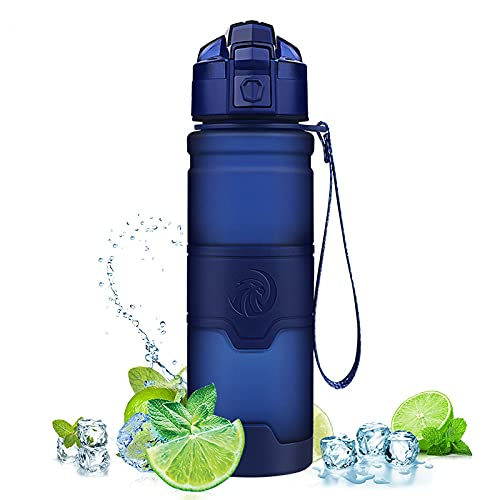mingtian Botella De Agua Deportiva Azul Oscuro de 1000 ML, el Mejor agitador De proteínas Reutilizable, Botella De Agua sin Bpa, Botella De Agua para Senderismo, Ciclismo, Gimnasio, Botella De Agua