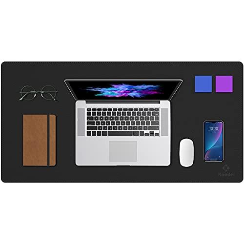 Upgrade Knodel Alfombrilla de escritorio, Estera del escritorio de oficina, Vade para escritorio hecho de cuero PU, alfombrilla del escritorio del ordenador portátil, Doble cara (4080, Negro / Negro)
