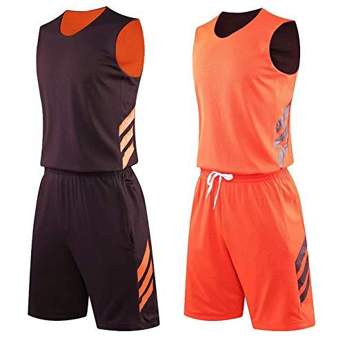 Jerseys y Pantalones Cortos de Baloncesto Juvenil permanecen Secos en Varios Juegos de Pelota Brown/Orange-XXXL