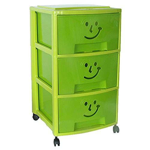 Mondex pls6093–17Torre di con Tre cassetti e Ruote per Bambini plastica 39x 37x 67cm, Plastica, Verde, 67 CM