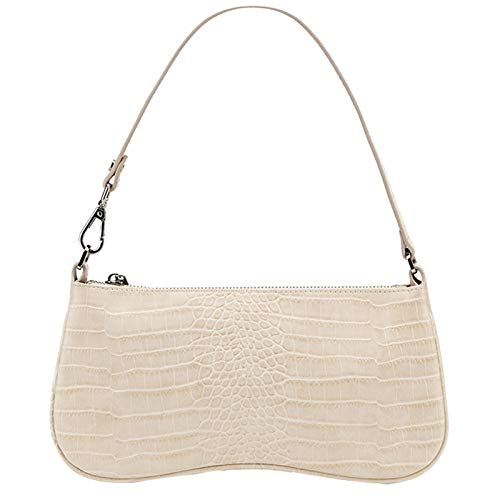 JW PEI 90s Shoulder Bag for Women Vegan Leather Crocodile Purse Trendy Clutch Handbag (Beige)