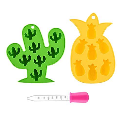 Olywee - Vassoio per cubetti di ghiaccio, in silicone, riutilizzabile, per bambini, per bevande fredde estive, ananas, cactus, confezione da 2