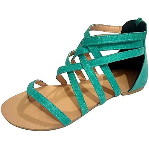 QAZW Cómodas Sandalias Planas de Mujer Bohemia Chic Correa de Tobillo, con Separador de Dedos, Grifo de Sandalia Descalzo de Moda,Vert-41EU