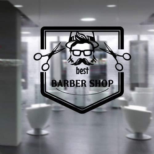 Art Vinyl Decal Polygon Cap Bril Snor Brood Beste Barbershop Schoonheid Stylist Haar Salon Muurstickers Muurschildering 42 * 46cm